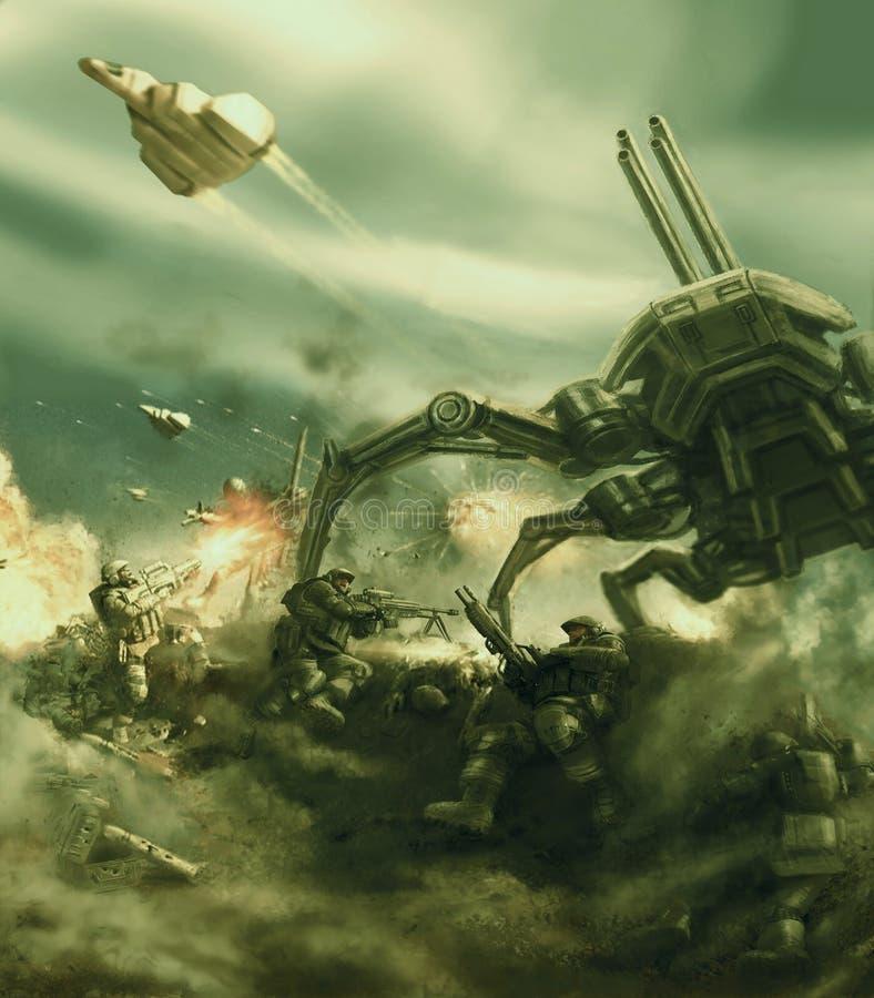 A infantaria do espaço repele o ataque do tanque estrangeiro gigante da aranha ilustração royalty free