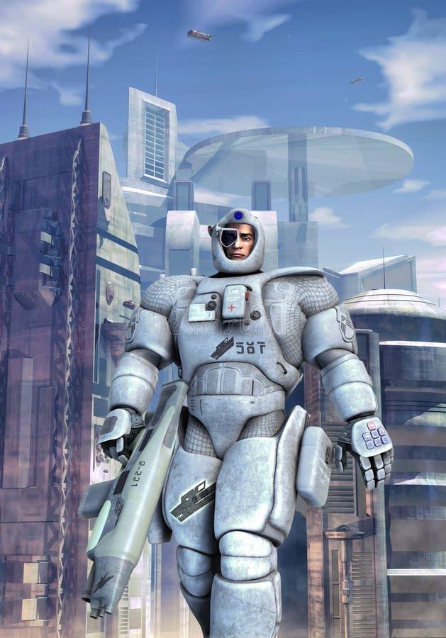 Infantaria futurista do espaço do soldado ilustração stock
