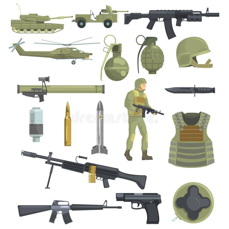 A infantaria profissional do exército força objetos realísticos de Equipment Set Of das armas, do transporte e do soldado na cor  ilustração royalty free