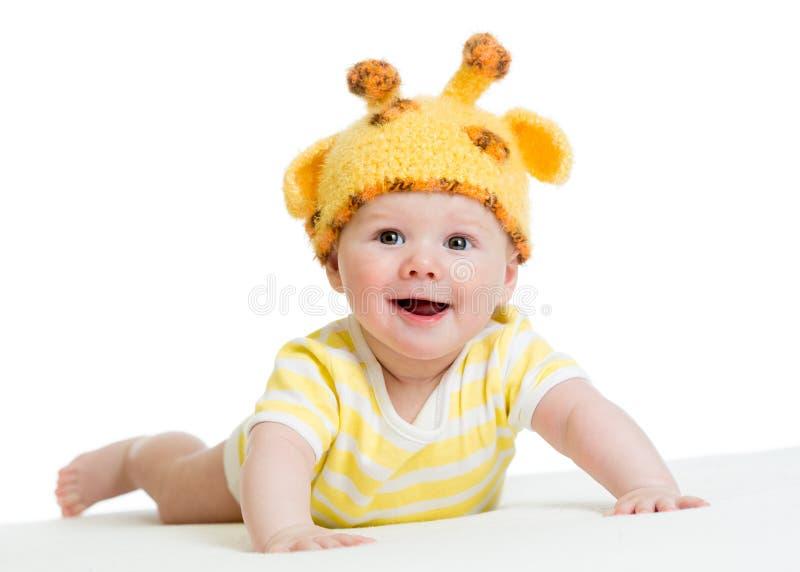 Infante bonito de sorriso do bebê no chapéu engraçado fotos de stock royalty free