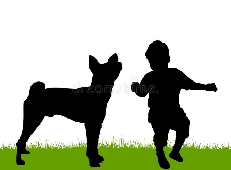 Infante che gioca con il cane della famiglia illustrazione di stock