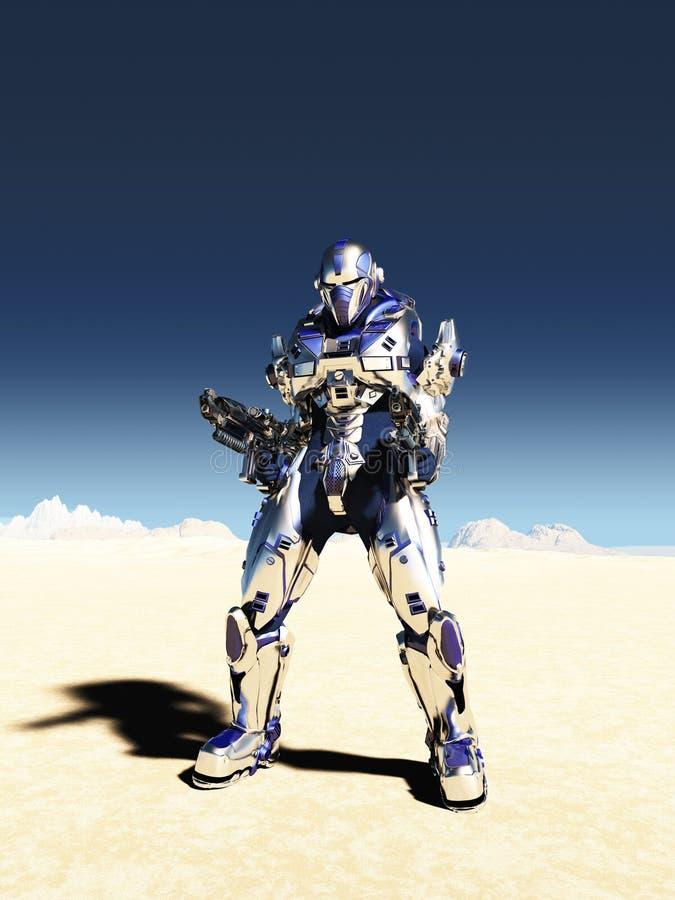 Infante de marina del espacio en armadura metálica ilustración del vector