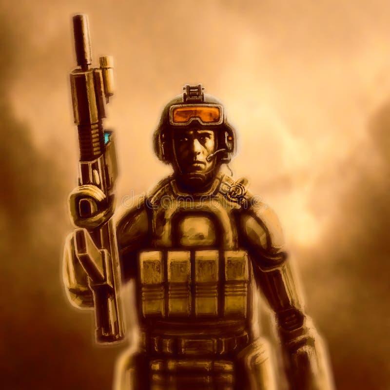 Infante de marina del espacio en traje con un rifle Fondo anaranjado stock de ilustración