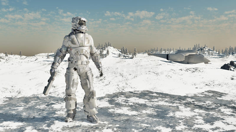 Infante de marina del espacio - guerrero del hielo stock de ilustración