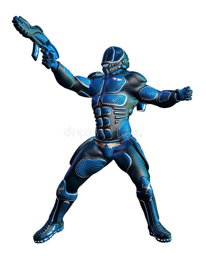 Infante de marina de Marte con el rifle uniforme y futurista del azul stock de ilustración
