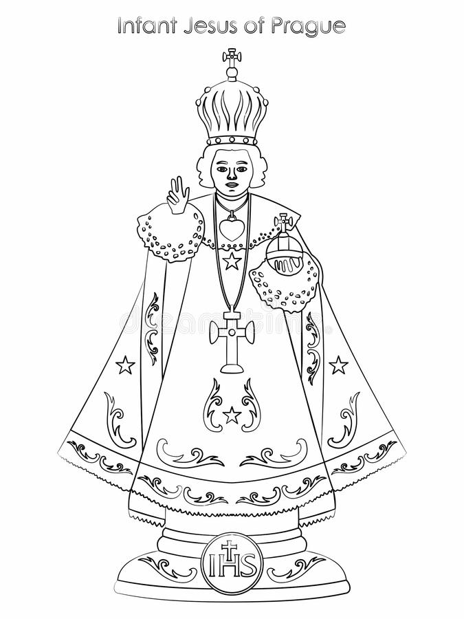 Infante Gesù di Praga Il profilo gradisce le pennellate illustrazione vettoriale