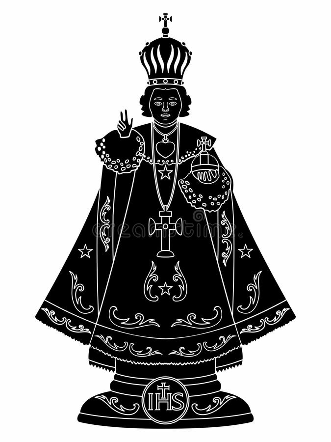 Infante Gesù di Praga Materiale di riempimento nero royalty illustrazione gratis