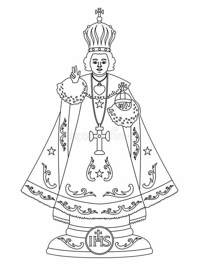 Infante Gesù di Praga Profilo soltanto illustrazione di stock