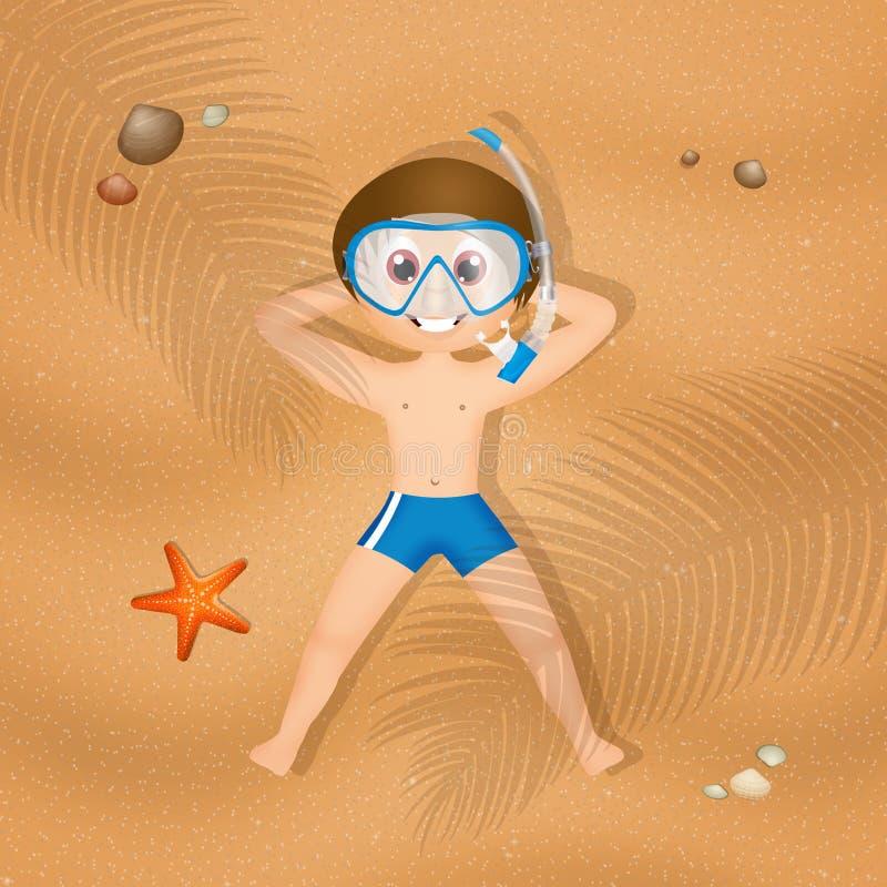 Infante que encontra-se na areia ilustração stock