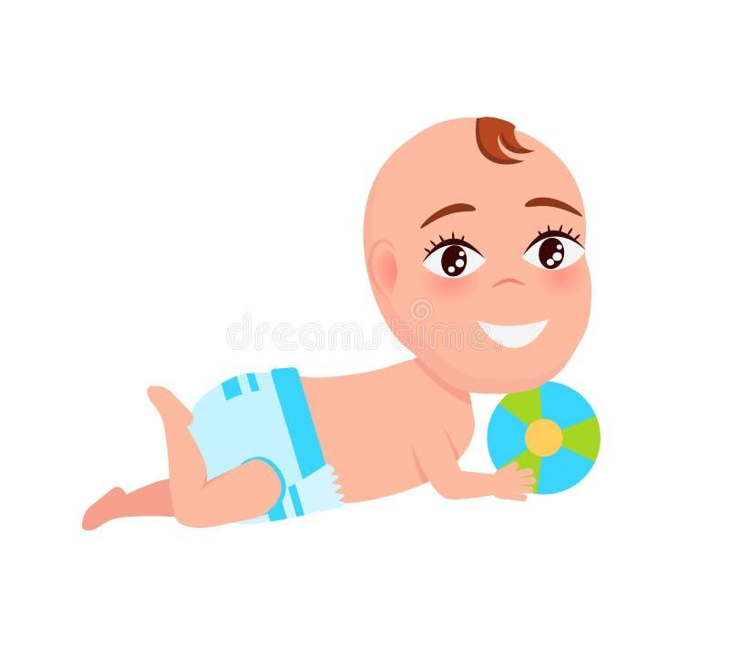 Infante sorridente del bambino in pannolino che gioca la palla di colore illustrazione vettoriale