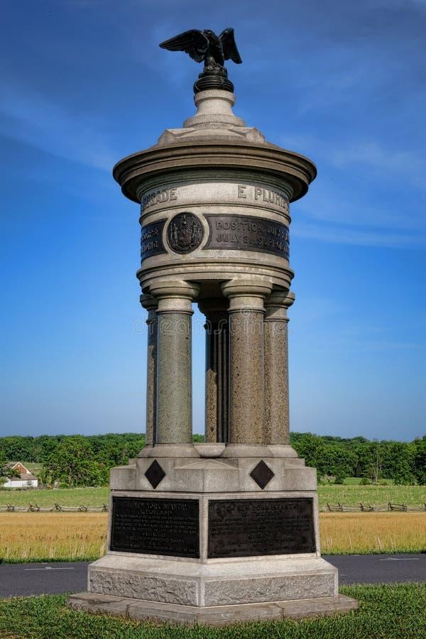 Infantería nacional Memoria de Nueva York del parque 71.o y 72.o de Gettysburg imagenes de archivo