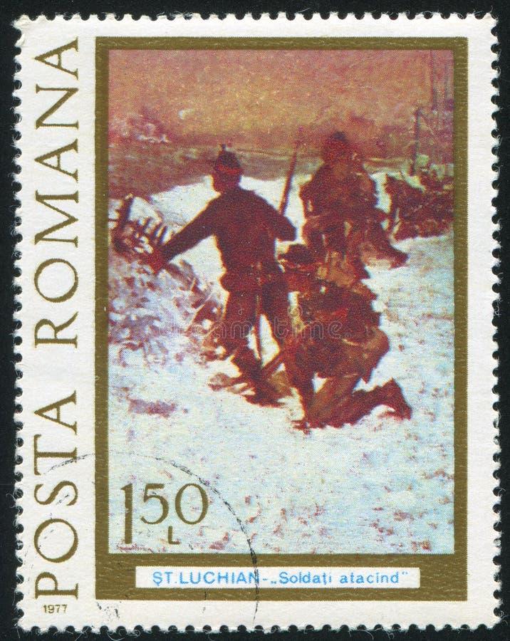 Infanteri anfaller i vinter royaltyfria foton
