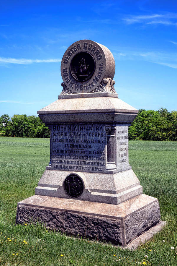 Infanteri för den Gettysburg nationalparken 80th NY påstår milisminnesmärken arkivbilder