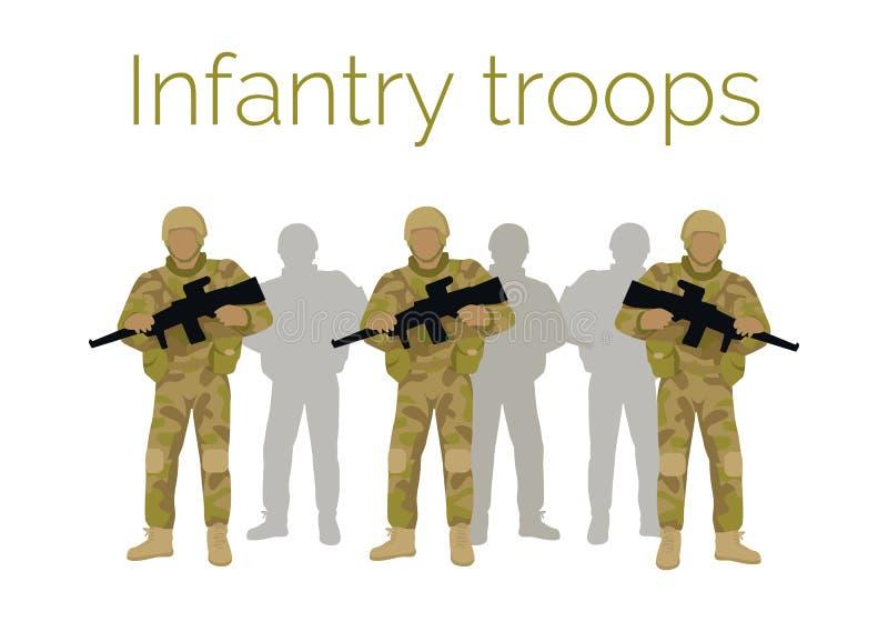 Infanteri gå i skaror soldater med vapnet vektor royaltyfri illustrationer