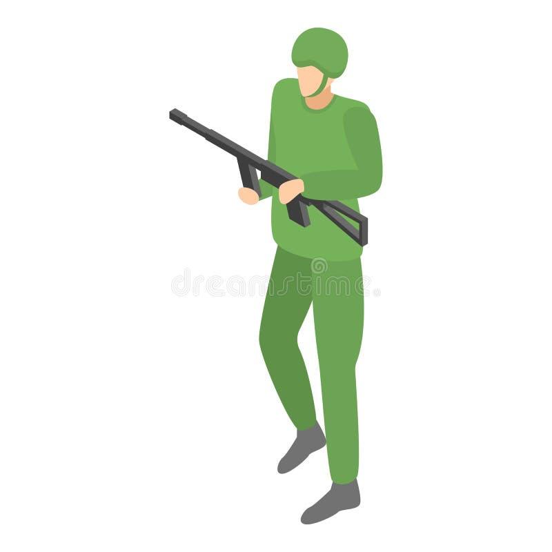 Infanteribefälhavaresymbol, isometrisk stil stock illustrationer