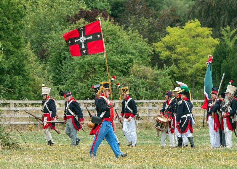 Infanterie mexicaine avec les couleurs c1835, parc de Spetchley, Worcestershire, Angleterre photos stock
