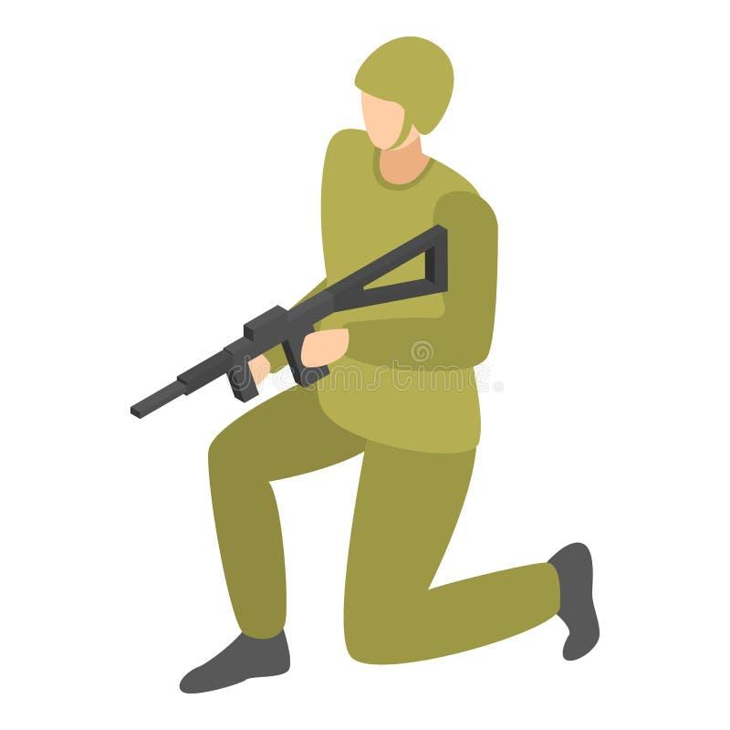 Infanterisoldatsymbol, isometrisk stil vektor illustrationer