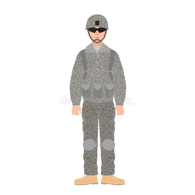 Infanterist av USA krigsmakt som bär den stridlikformign, hjälmen och exponeringsglas Soldat eller militär i fältuniform stock illustrationer