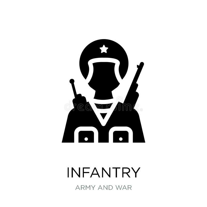 infanterisymbol i moderiktig designstil infanterisymbol som isoleras på vit bakgrund enkel och modern lägenhet för infanterivekto vektor illustrationer