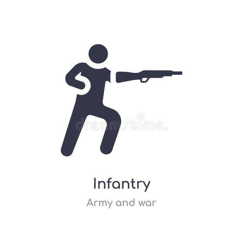 Infanterisymbol isolerad illustration för infanterisymbolsvektor från armé- och krigsamling redigerbart sjunga symbolet kan vara  vektor illustrationer