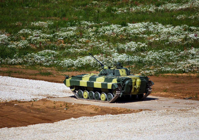 Infantry combat vehicle. On a boundary fire opening royalty free stock image