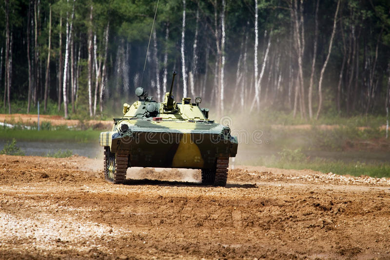 Infantry combat vehicle. On a march over rough terrain royalty free stock photos