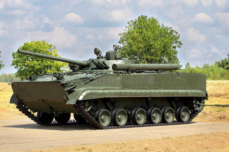 Infantry combat vehicle. On the parking place stock photography
