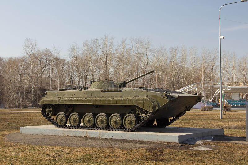 Infantry fighting vehicle. On display at the park royalty free stock photos