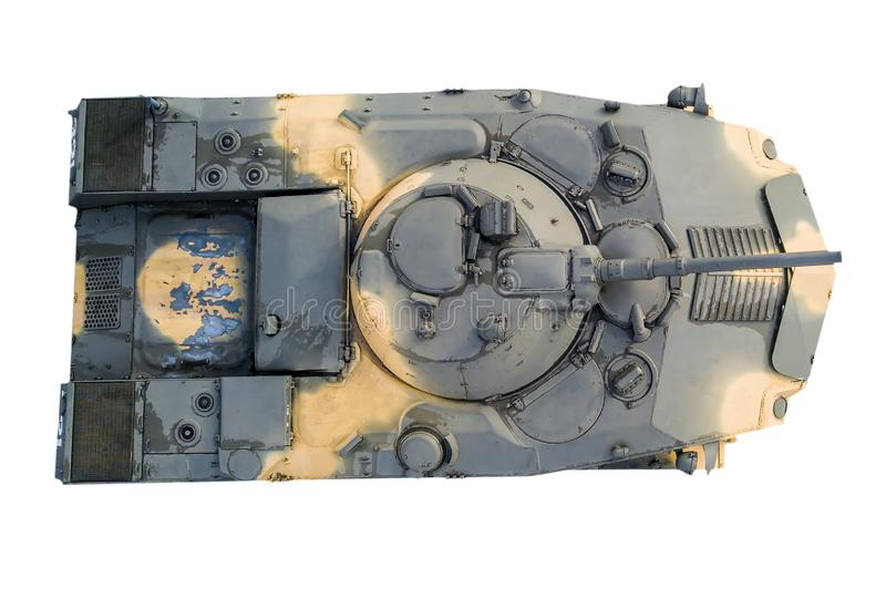 Infantry fighting vehicle top view on white isolated background. Tank royalty free stock image