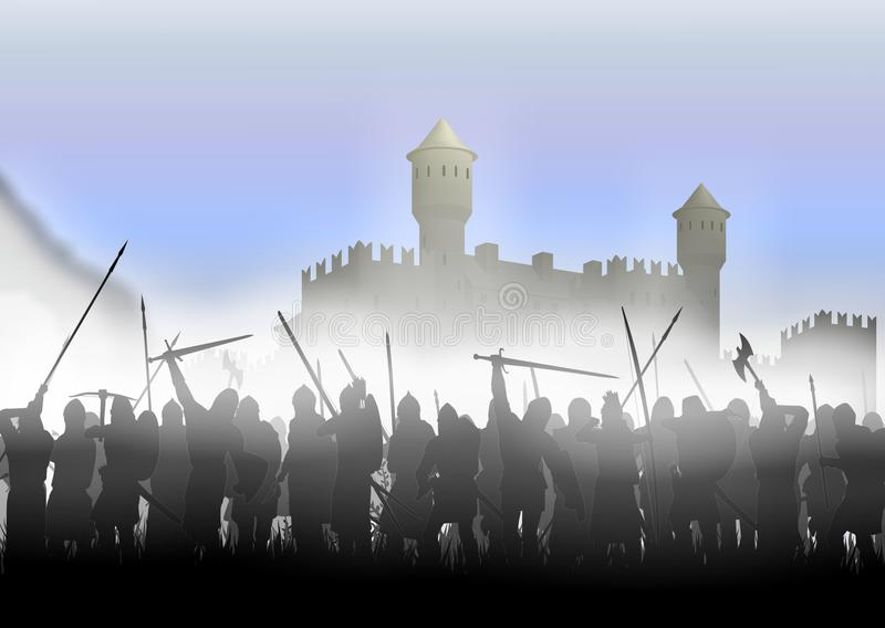Infantry in the fog royalty free stock photography