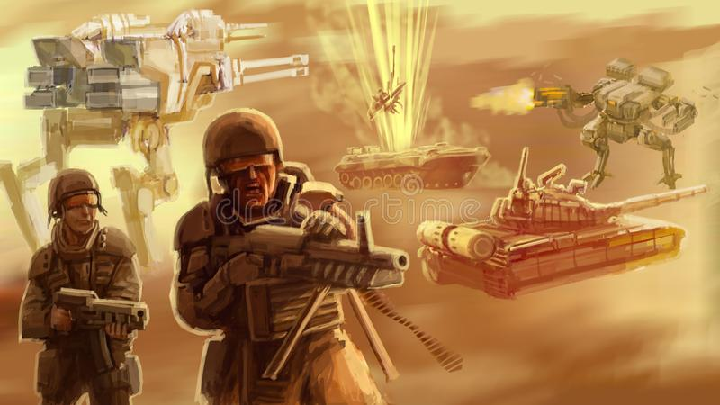 Infantry of the future on the battlefield vector illustration