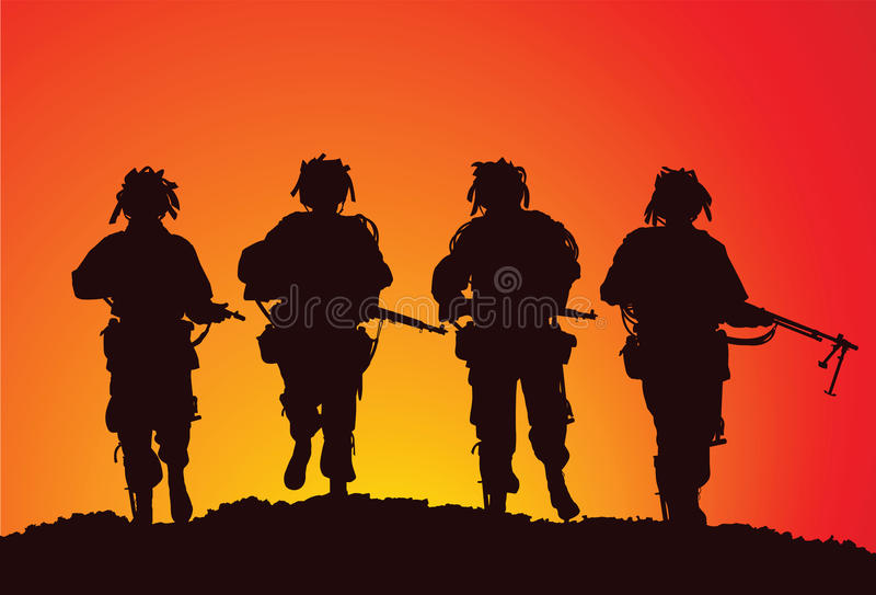 Infantry group of the US Airborne royalty free illustration