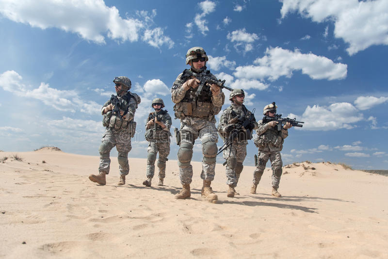Infantrymen in action stock photos