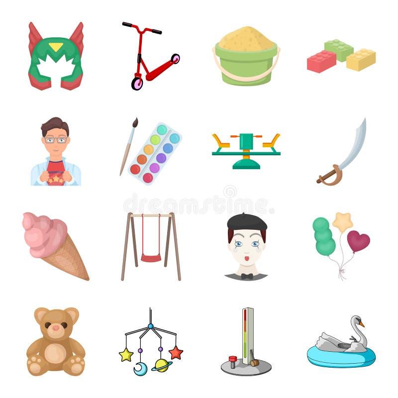 Infanzia, spettacolo e gioco, dessert, giocattolo Le icone stabilite della raccolta di spettacolo del bambino nello stile del fum illustrazione di stock