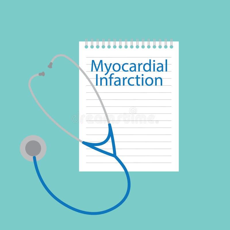 Infarto del miocardio escrito en un cuaderno libre illustration