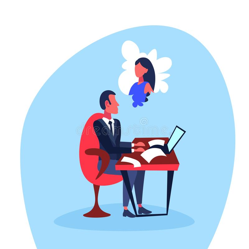 Infatuated businessman sitting office workplace thinking woman dream hard working concept cartoon character isolated vector illustration
