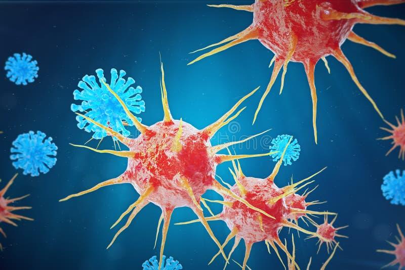 Infecção da hepatite viral que causa a infecção hepática crônica, vírus de hepatite ilustração 3D ilustração royalty free