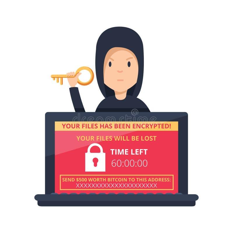 Infecção wannacry de NotPetya do vírus de computador do conceito do ataque do cyber do hacker do símbolo do risco do malware de R ilustração do vetor