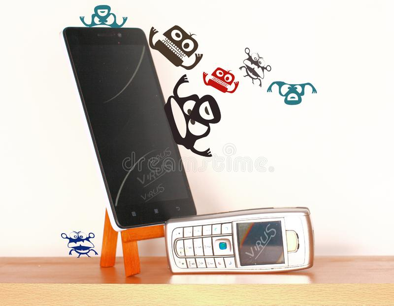 Infected mobile phones with malware virus. Infected mobile phones with virus malware stock image