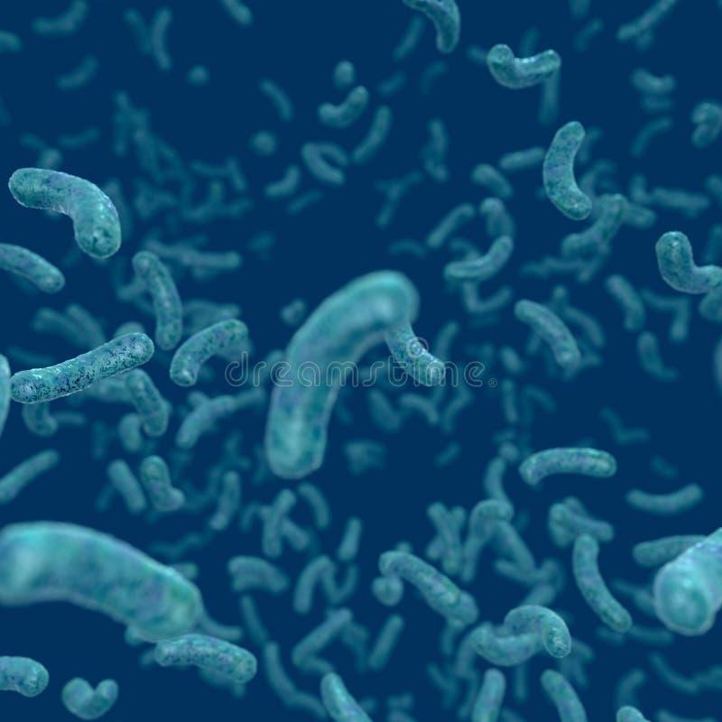 Infection de bactéries, bactéries flottant dans l'environnement liquide illustration de vecteur