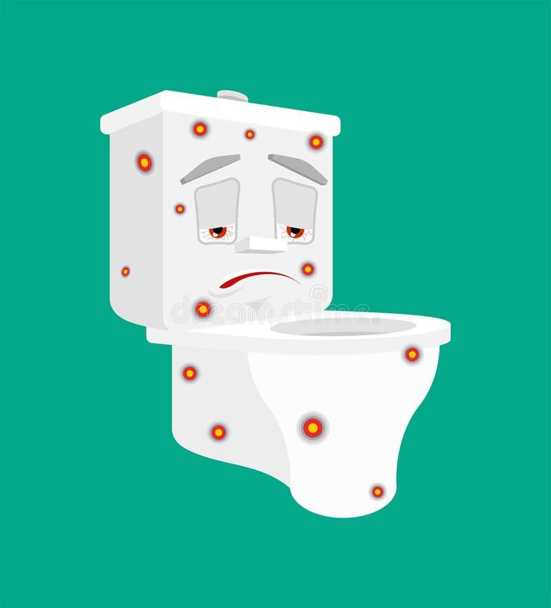 Infection en difficulté de cuvette des toilettes d'isolement Style malade de bande dessinée de toilettes de virus vecteur de mala illustration de vecteur