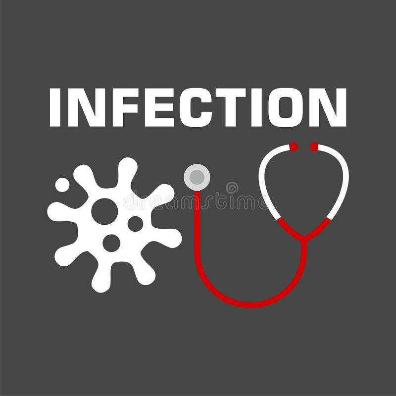 Infection icon, stethoscope icon vector illustration