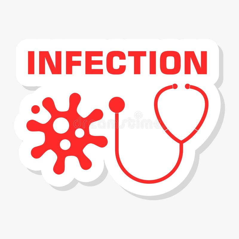 Infection icon, stethoscope sticker royalty free illustration