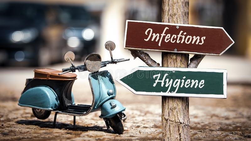 Infektioner för hygien för gatatecken kontra fotografering för bildbyråer