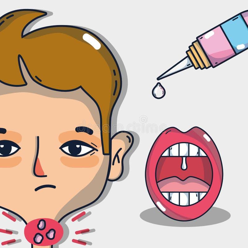 Infektiontecken för öm hals med behandling royaltyfri illustrationer