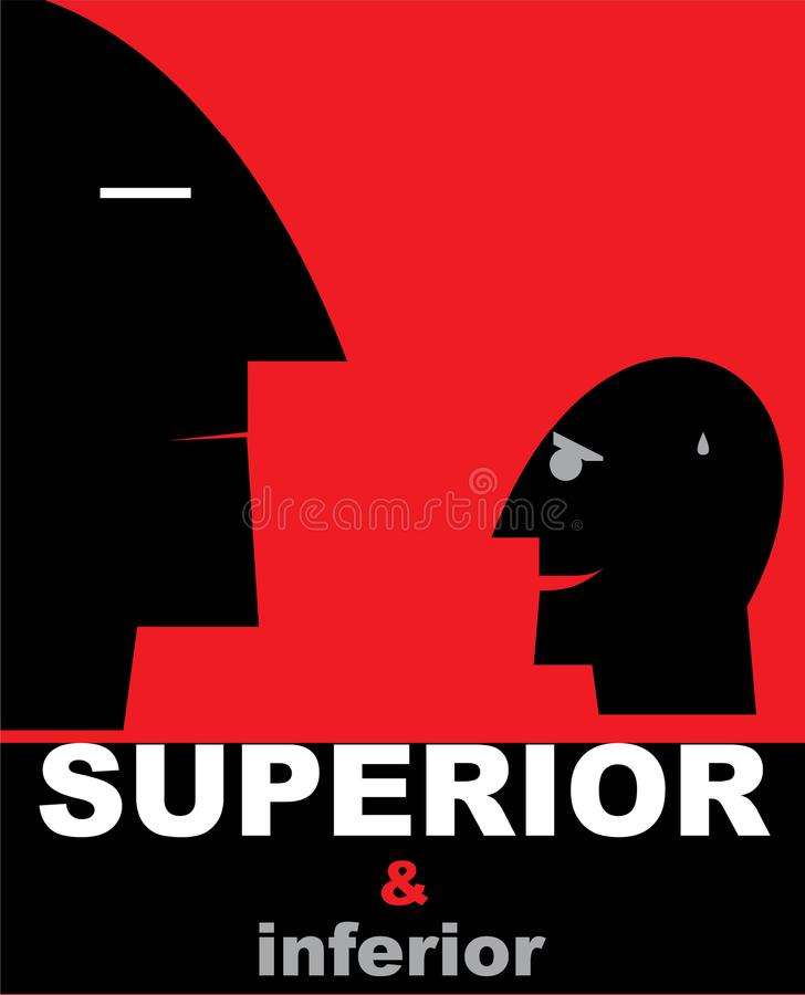 Inferiority. Superior and inferior. royalty free illustration