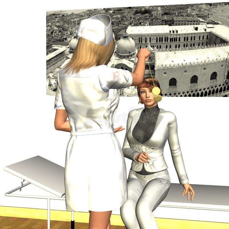 Infermiera che Hypnotising giovane donna illustrazione di stock