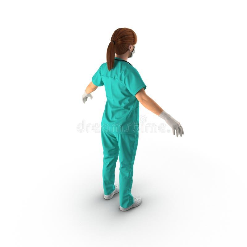Infermiere o chirurgo di Femal che indossa un vestito verde sterile su bianco illustrazione 3D illustrazione vettoriale