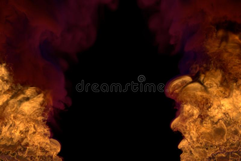Inferno d'ardore immaginario sul nero, struttura con fumo scuro - fuoco dagli angoli destri e sinistri dell'immagine - illustrazi illustrazione vettoriale