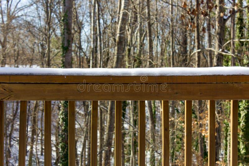 Inferriata di Snowy con gli alberi nei precedenti immagine stock libera da diritti